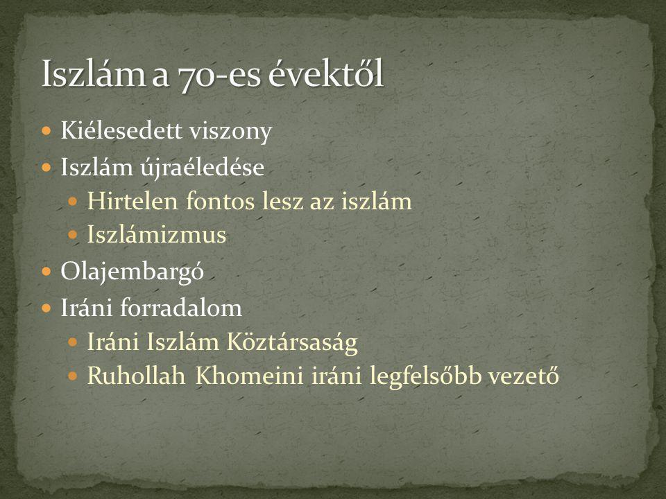 Iszlám a 70-es évektől Kiélesedett viszony Iszlám újraéledése
