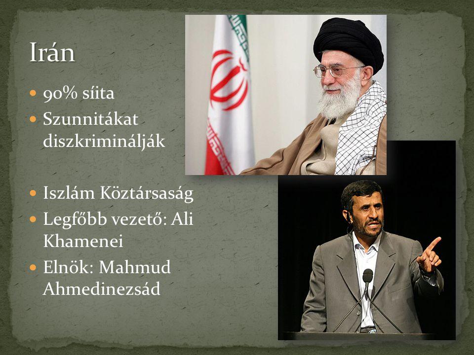Irán 90% síita Szunnitákat diszkriminálják Iszlám Köztársaság