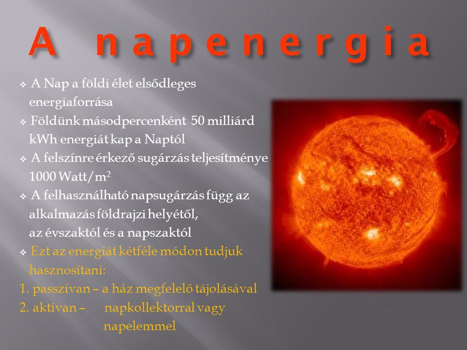 A n a p e n e r g i a A Nap a földi élet elsődleges energiaforrása