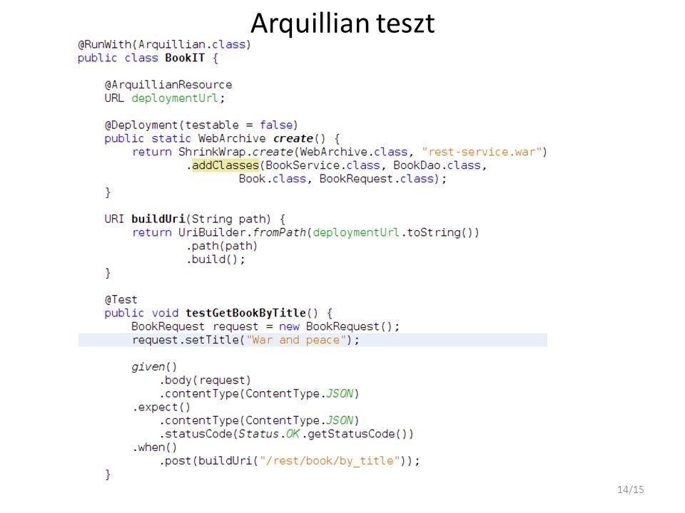Arquillian teszt