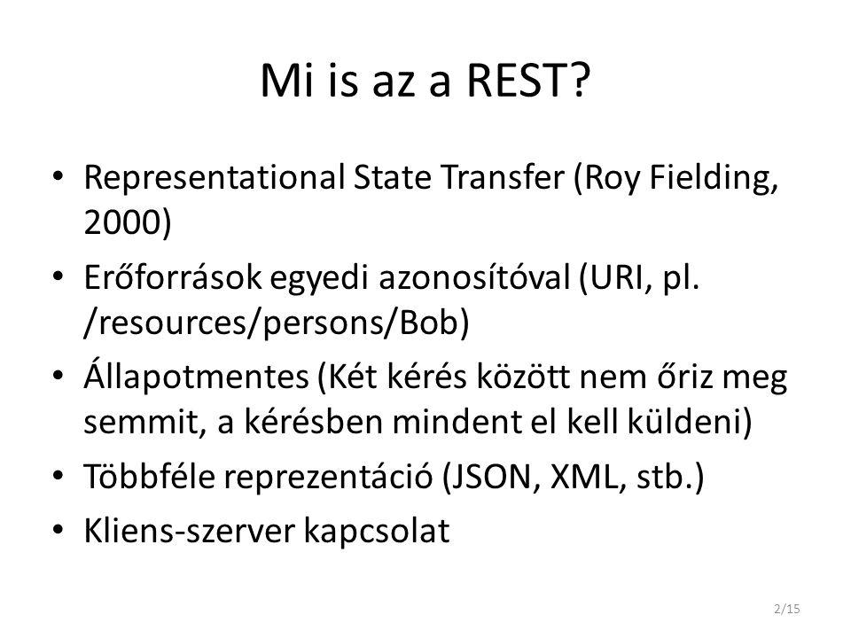 Mi is az a REST Representational State Transfer (Roy Fielding, 2000)