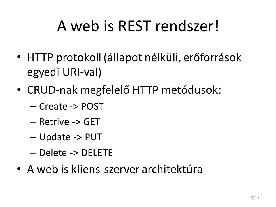 A web is REST rendszer! HTTP protokoll (állapot nélküli, erőforrások egyedi URI-val) CRUD-nak megfelelő HTTP metódusok: