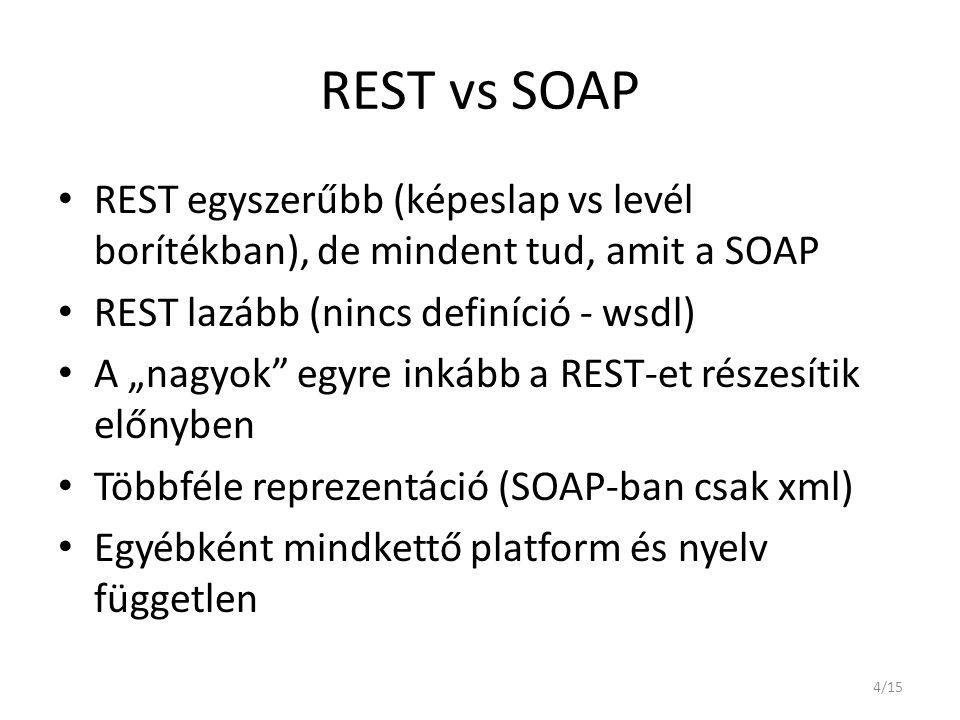 REST vs SOAP REST egyszerűbb (képeslap vs levél borítékban), de mindent tud, amit a SOAP. REST lazább (nincs definíció - wsdl)