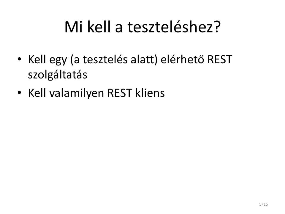 Mi kell a teszteléshez. Kell egy (a tesztelés alatt) elérhető REST szolgáltatás.