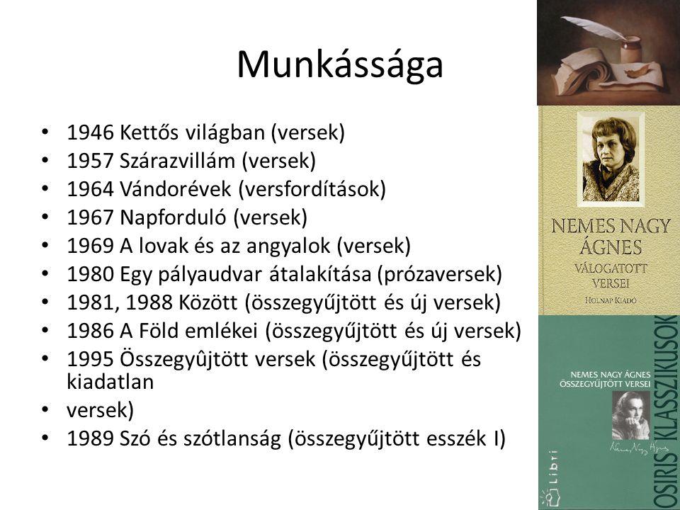 Munkássága 1946 Kettős világban (versek) 1957 Szárazvillám (versek)