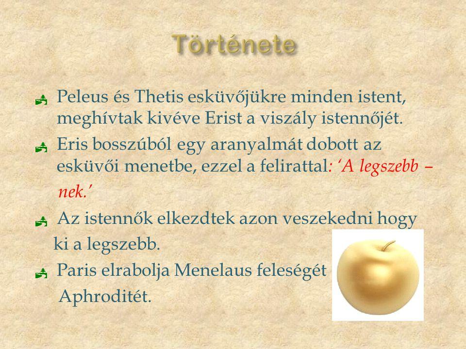 Története Peleus és Thetis esküvőjükre minden istent, meghívtak kivéve Erist a viszály istennőjét.