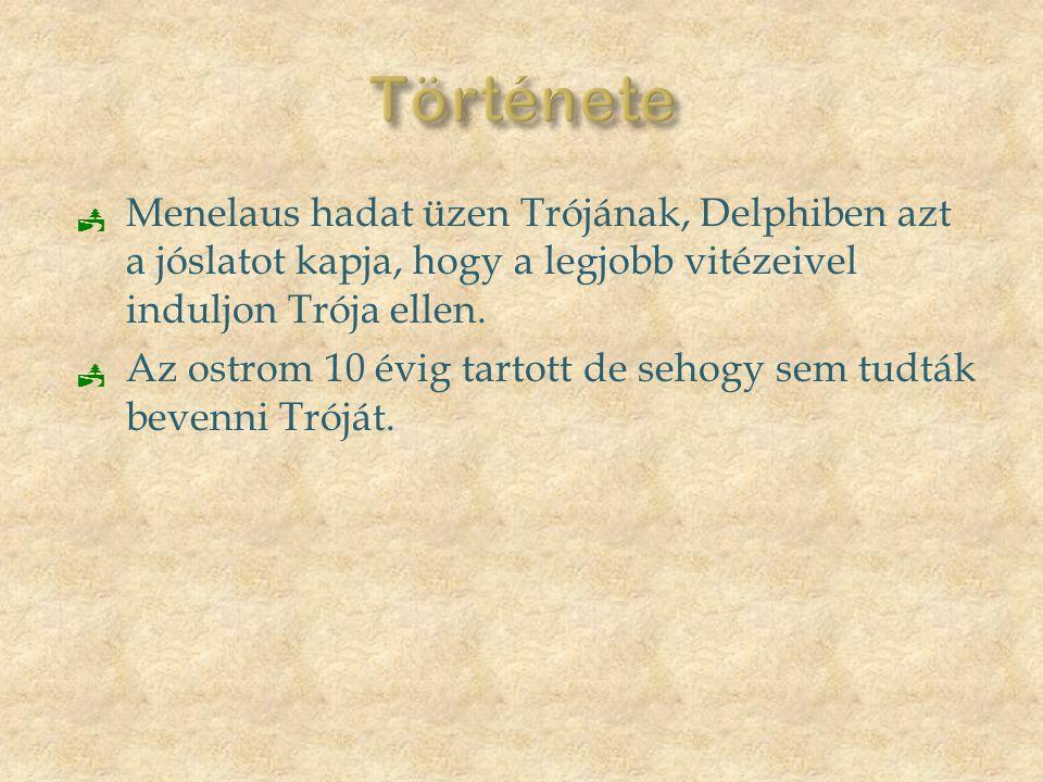 Története Menelaus hadat üzen Trójának, Delphiben azt a jóslatot kapja, hogy a legjobb vitézeivel induljon Trója ellen.