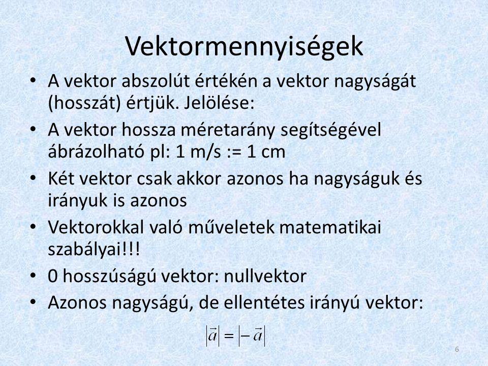 Vektormennyiségek A vektor abszolút értékén a vektor nagyságát (hosszát) értjük. Jelölése:
