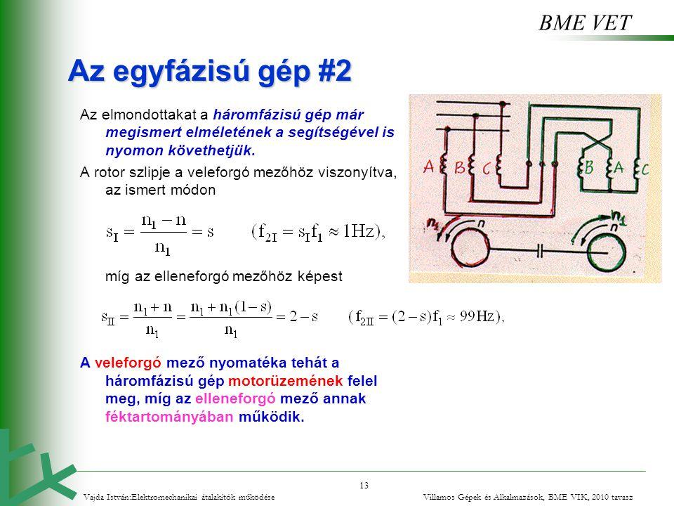 Az egyfázisú gép #2 Az elmondottakat a háromfázisú gép már megismert elméletének a segítségével is nyomon követhetjük.