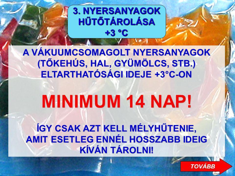 MINIMUM 14 NAP! 3. NYERSANYAGOK HŰTŐTÁROLÁSA +3 °C