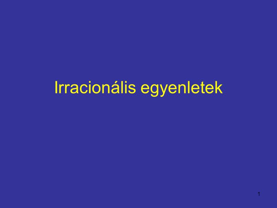 Irracionális egyenletek