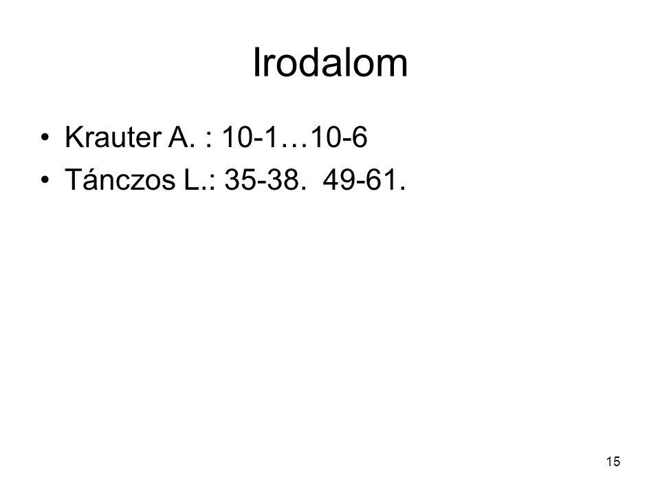 Irodalom Krauter A. : 10-1…10-6 Tánczos L.: 35-38. 49-61.