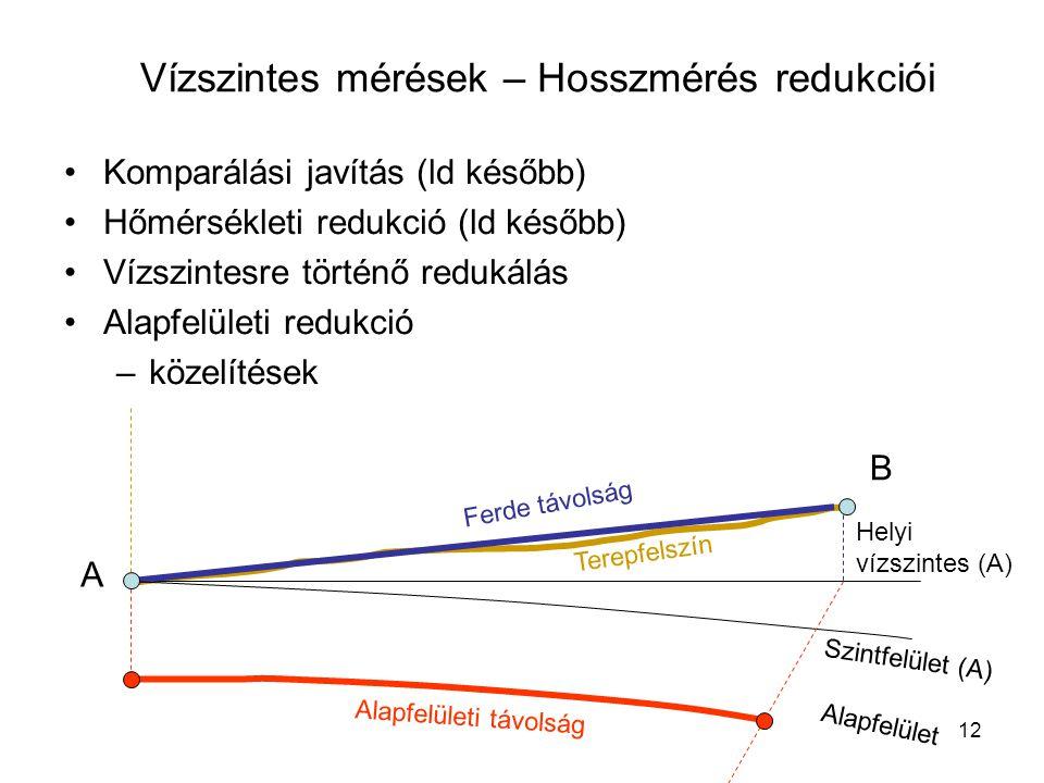 Vízszintes mérések – Hosszmérés redukciói