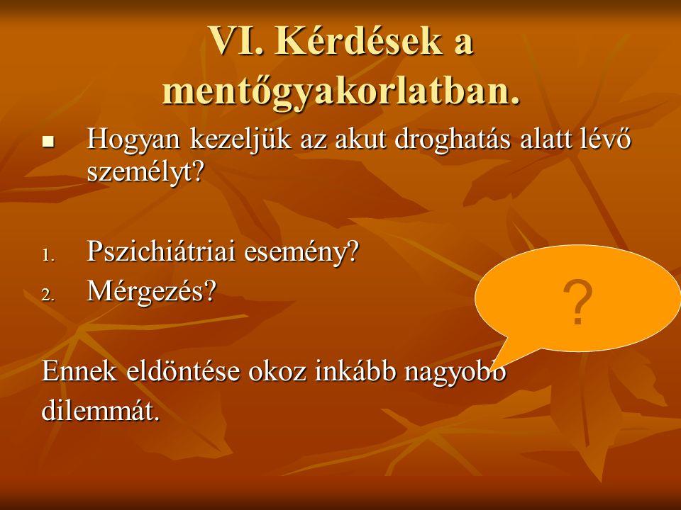 VI. Kérdések a mentőgyakorlatban.