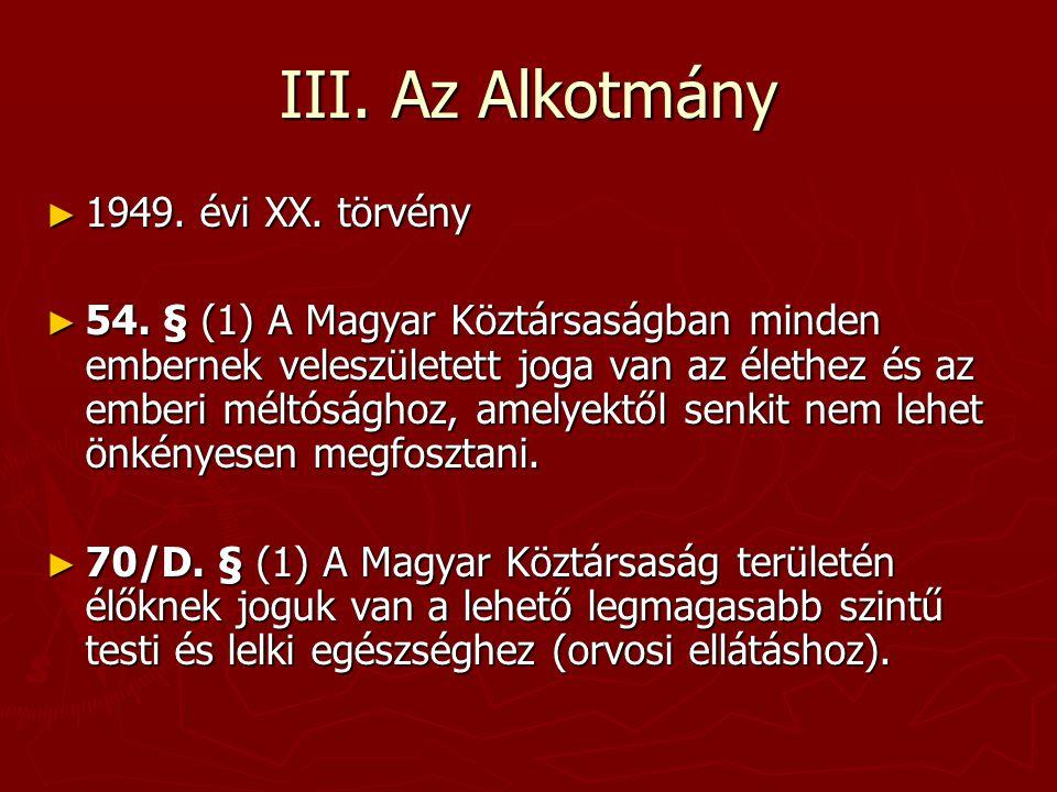 III. Az Alkotmány 1949. évi XX. törvény