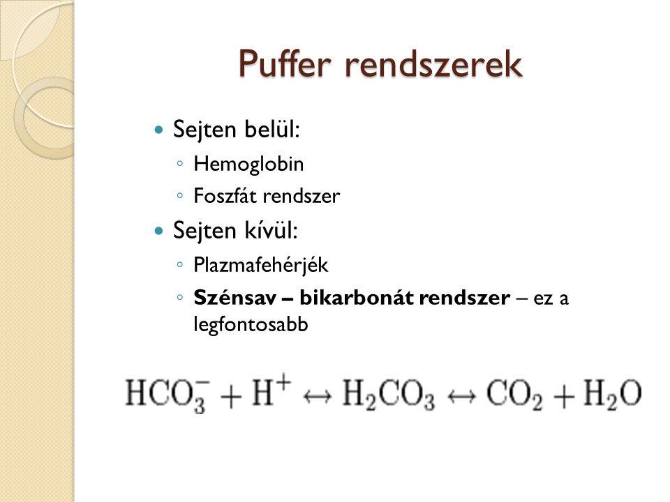 Puffer rendszerek Sejten belül: Sejten kívül: Hemoglobin