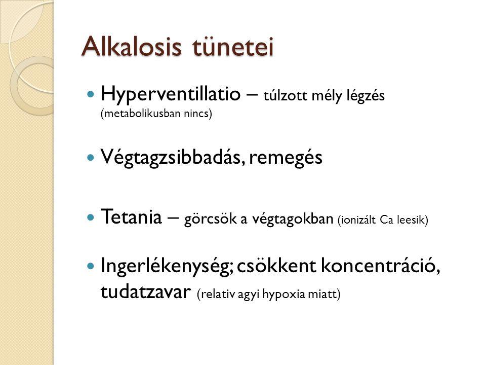 Alkalosis tünetei Hyperventillatio – túlzott mély légzés (metabolikusban nincs) Végtagzsibbadás, remegés.
