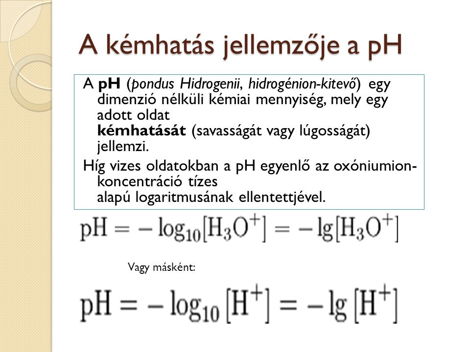 A kémhatás jellemzője a pH