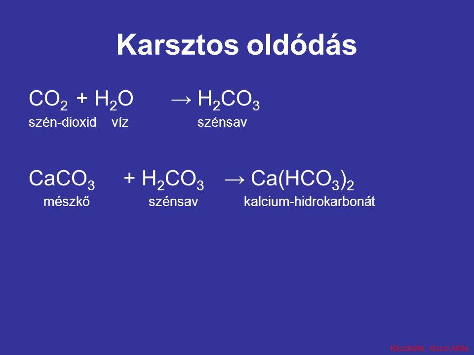 Karsztos oldódás CO2 + H2O → H2CO3 CaCO3 + H2CO3 → Ca(HCO3)2