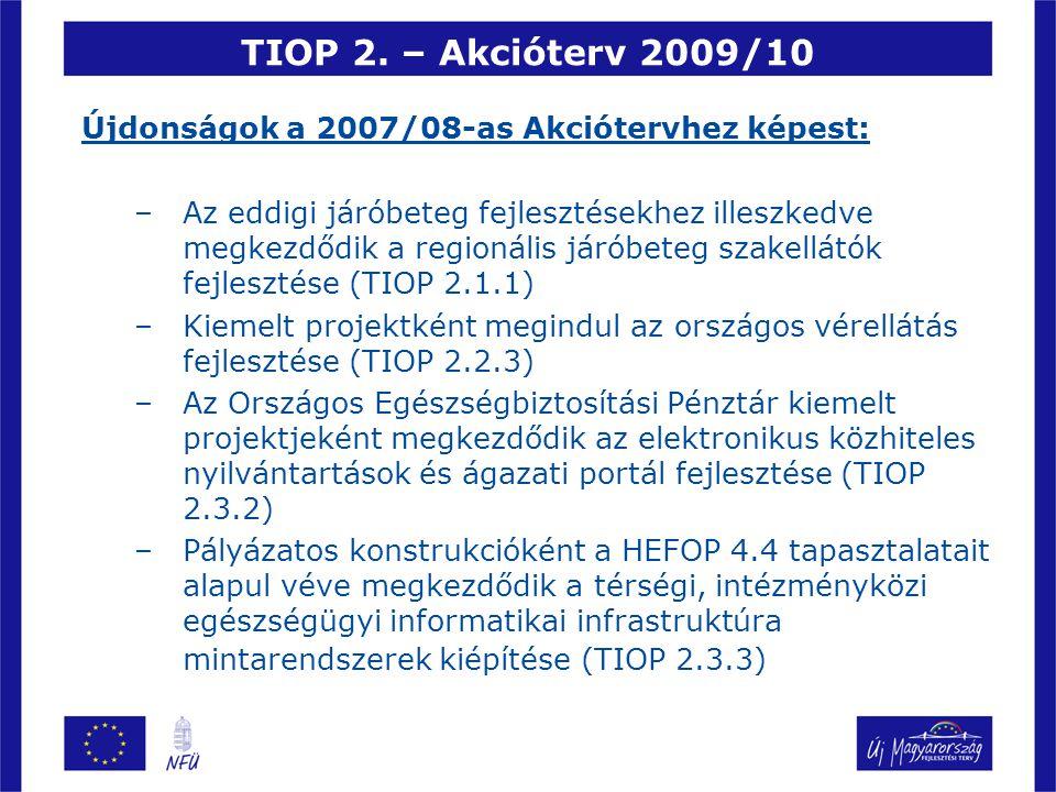 TIOP 2. – Akcióterv 2009/10 Újdonságok a 2007/08-as Akciótervhez képest:
