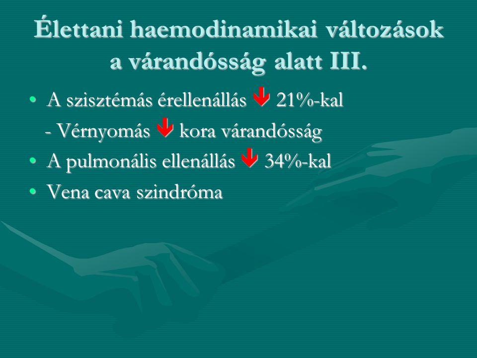 Élettani haemodinamikai változások a várandósság alatt III.