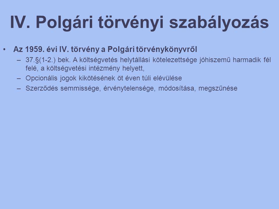 IV. Polgári törvényi szabályozás