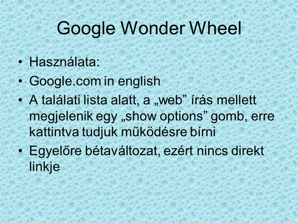 Google Wonder Wheel Használata: Google.com in english