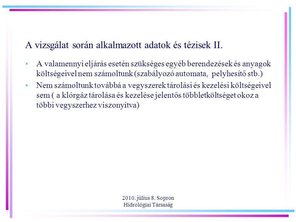A vizsgálat során alkalmazott adatok és tézisek II.