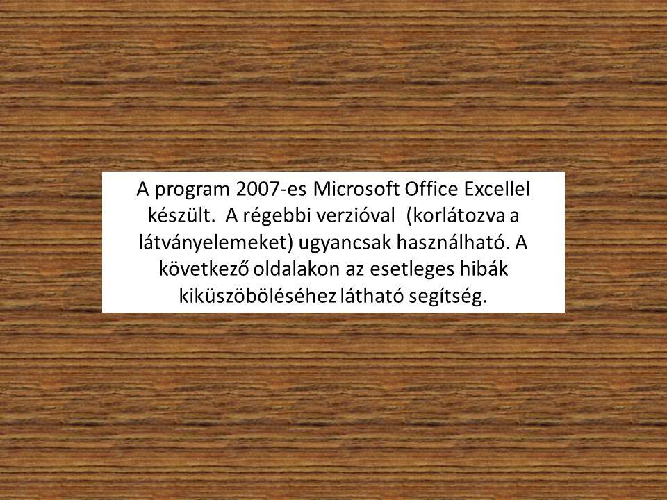 A program 2007-es Microsoft Office Excellel készült