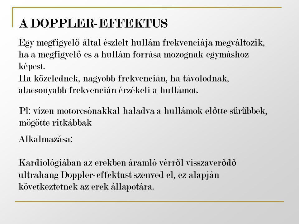 A DOPPLER-EFFEKTUS Egy megfigyelő által észlelt hullám frekvenciája megváltozik, ha a megfigyelő és a hullám forrása mozognak egymáshoz képest.