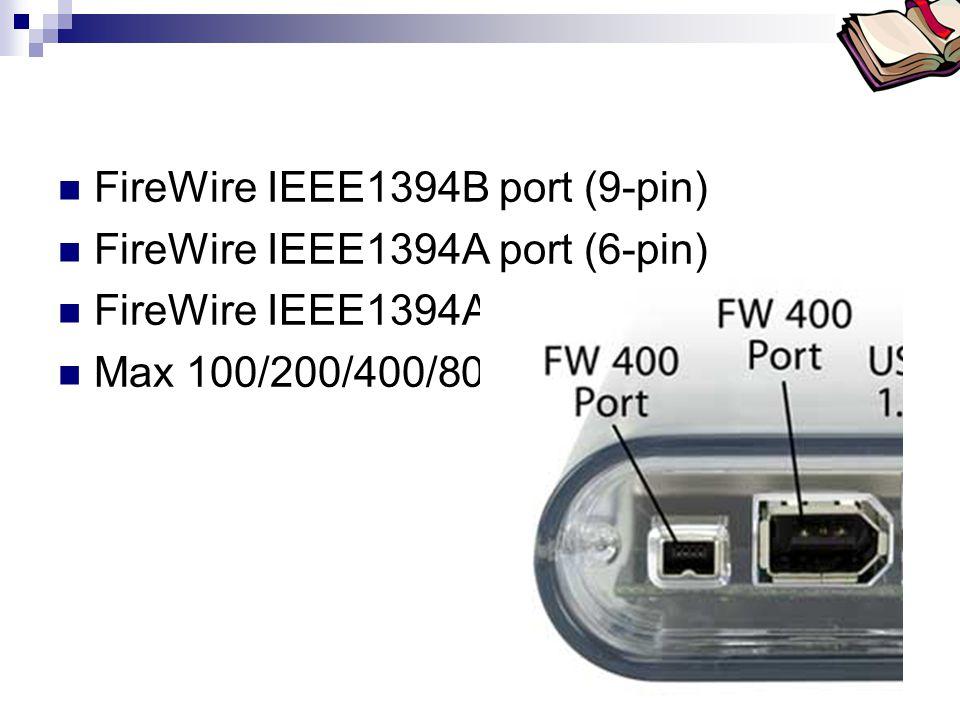 FireWire IEEE1394B port (9-pin) FireWire IEEE1394A port (6-pin)