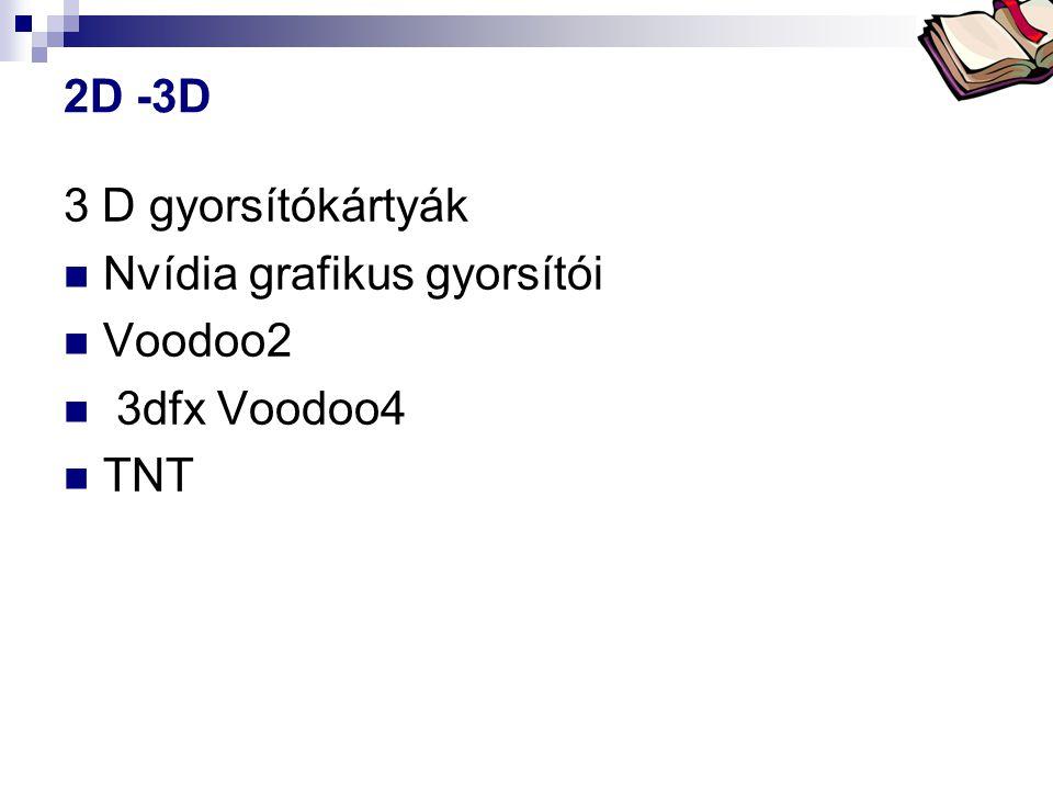 2D -3D 3 D gyorsítókártyák Nvídia grafikus gyorsítói Voodoo2 3dfx Voodoo4 TNT