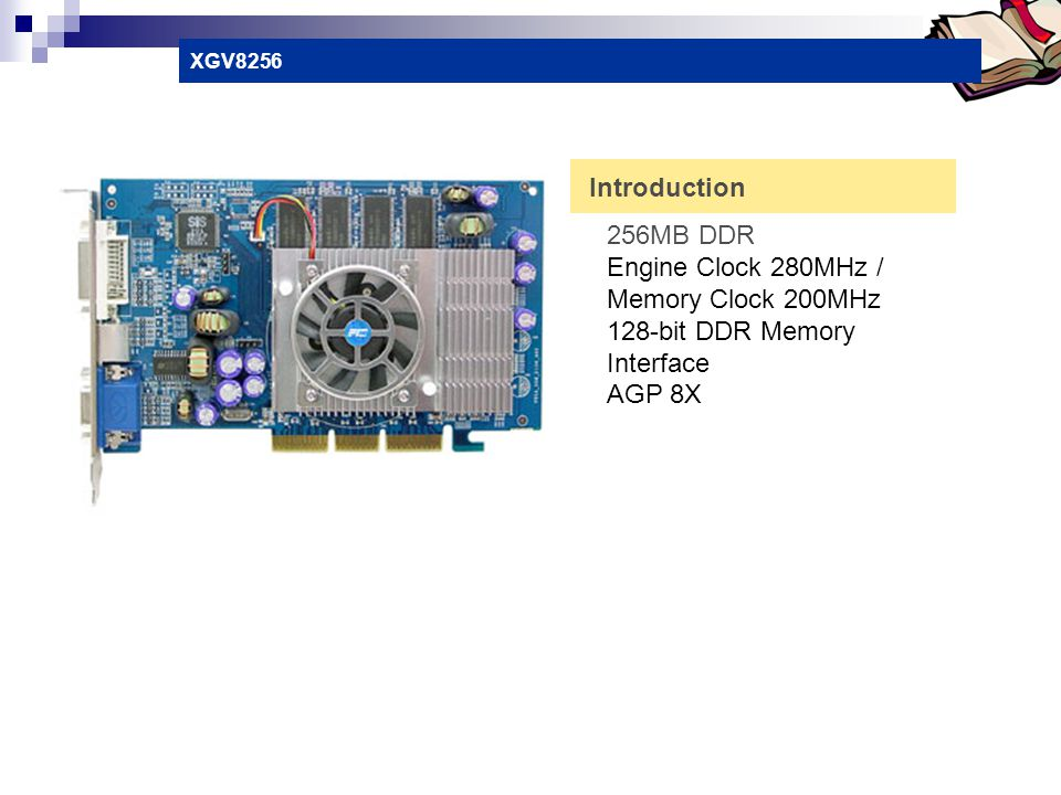 Engine Clock 280MHz / Memory Clock 200MHz 128-bit DDR Memory Interface