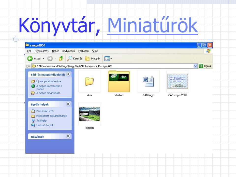 Könyvtár, Miniatűrök A Miniatűrök nézet a mappában lévő képeket a mappa ikonján jeleníti meg, így a mappa tartalma könnyen áttekinthető.