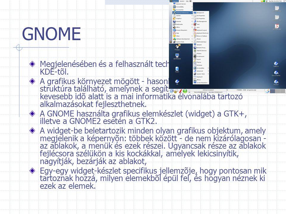 GNOME Megjelenésében és a felhasznált technológiában is különbözik a KDE-tõl.