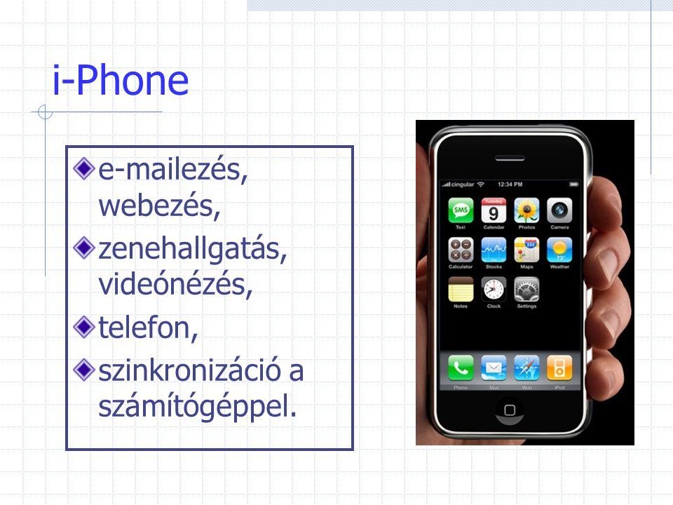 i-Phone e-mailezés, webezés, zenehallgatás, videónézés, telefon,