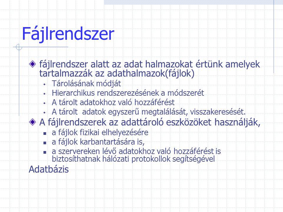 Fájlrendszer fájlrendszer alatt az adat halmazokat értünk amelyek tartalmazzák az adathalmazok(fájlok)