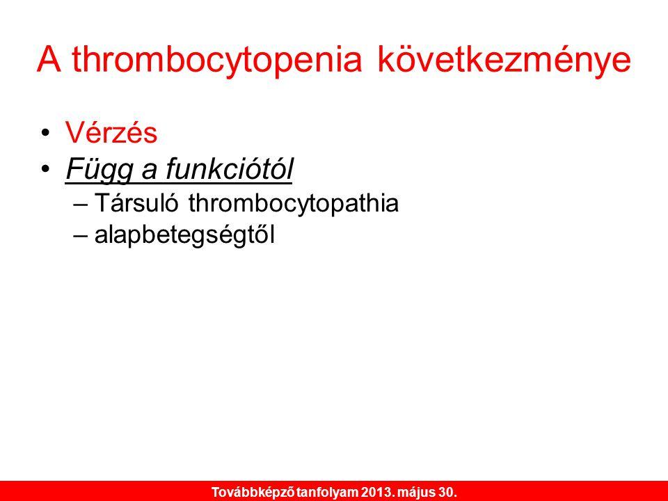 A thrombocytopenia következménye