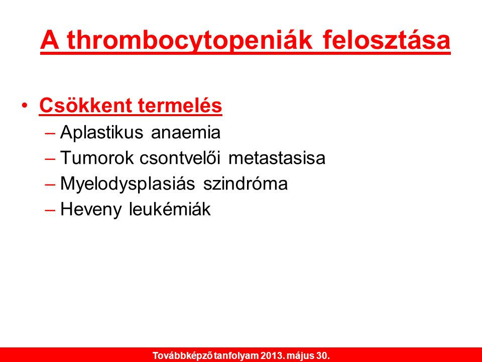 A thrombocytopeniák felosztása