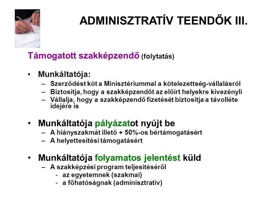 ADMINISZTRATÍV TEENDŐK III.
