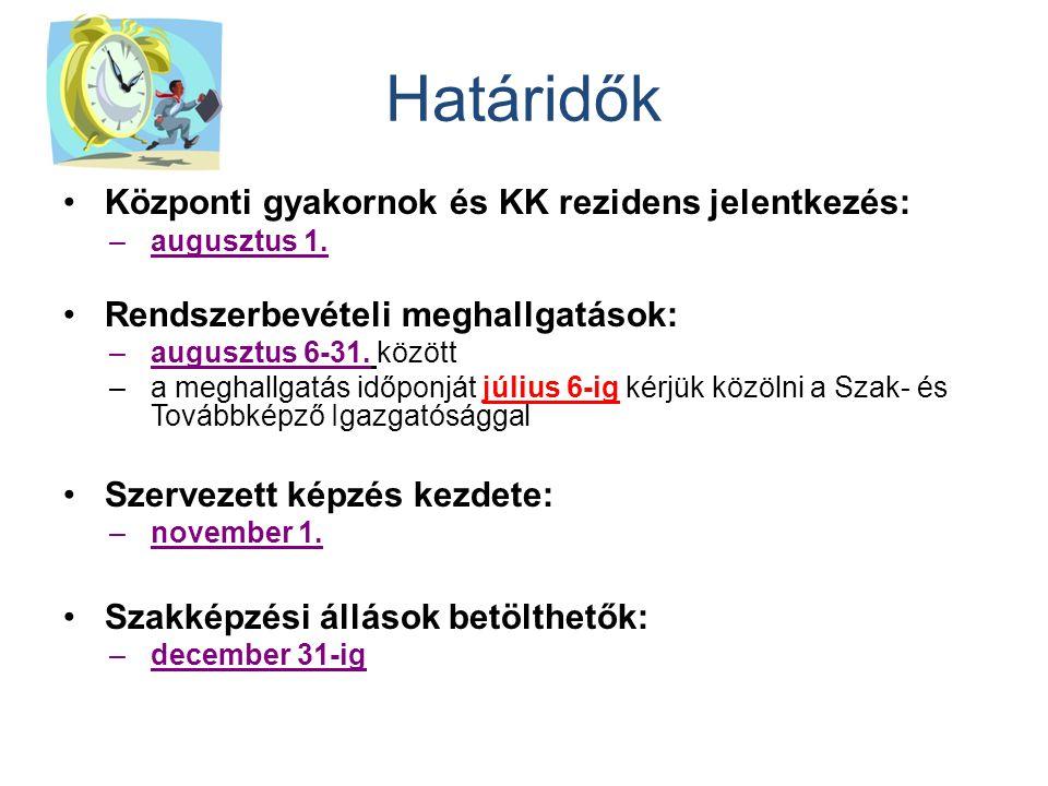 Határidők Központi gyakornok és KK rezidens jelentkezés: