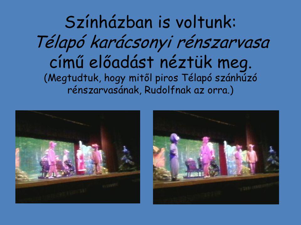 Színházban is voltunk: Télapó karácsonyi rénszarvasa című előadást néztük meg.