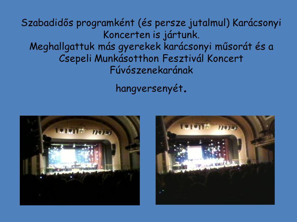 Szabadidős programként (és persze jutalmul) Karácsonyi Koncerten is jártunk.