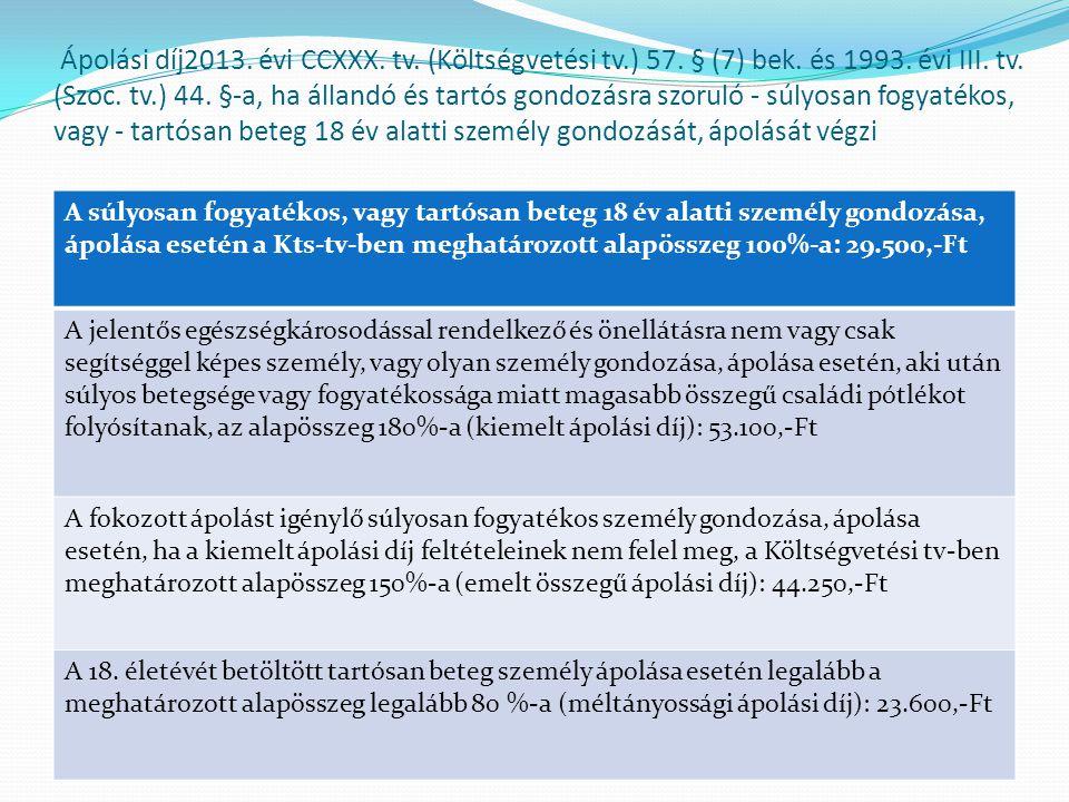 Ápolási díj2013. évi CCXXX. tv. (Költségvetési tv. ) 57. § (7) bek