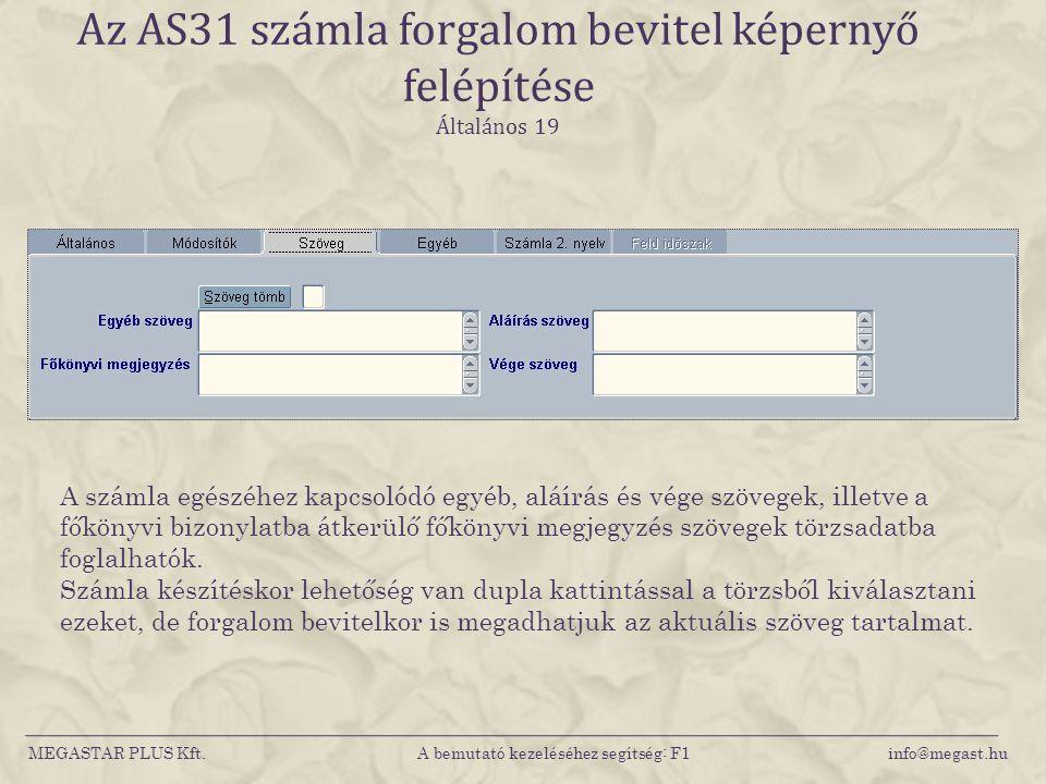 Az AS31 számla forgalom bevitel képernyő felépítése Általános 19