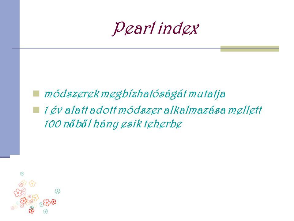 Pearl index módszerek megbízhatóságát mutatja