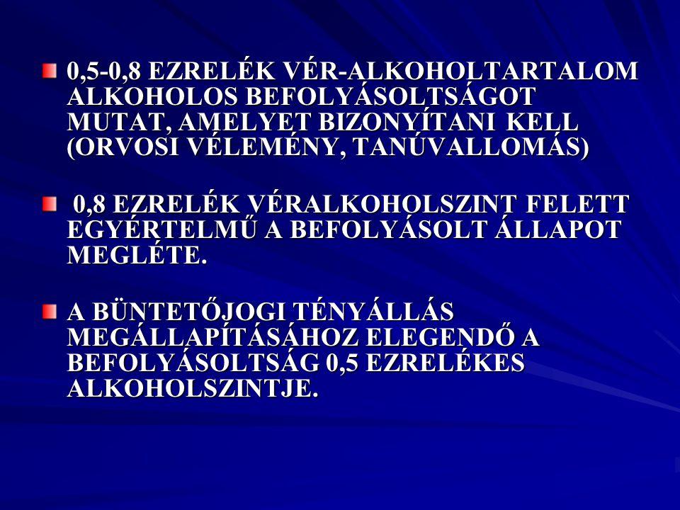 0,5-0,8 EZRELÉK VÉR-ALKOHOLTARTALOM ALKOHOLOS BEFOLYÁSOLTSÁGOT MUTAT, AMELYET BIZONYÍTANI KELL (ORVOSI VÉLEMÉNY, TANÚVALLOMÁS)