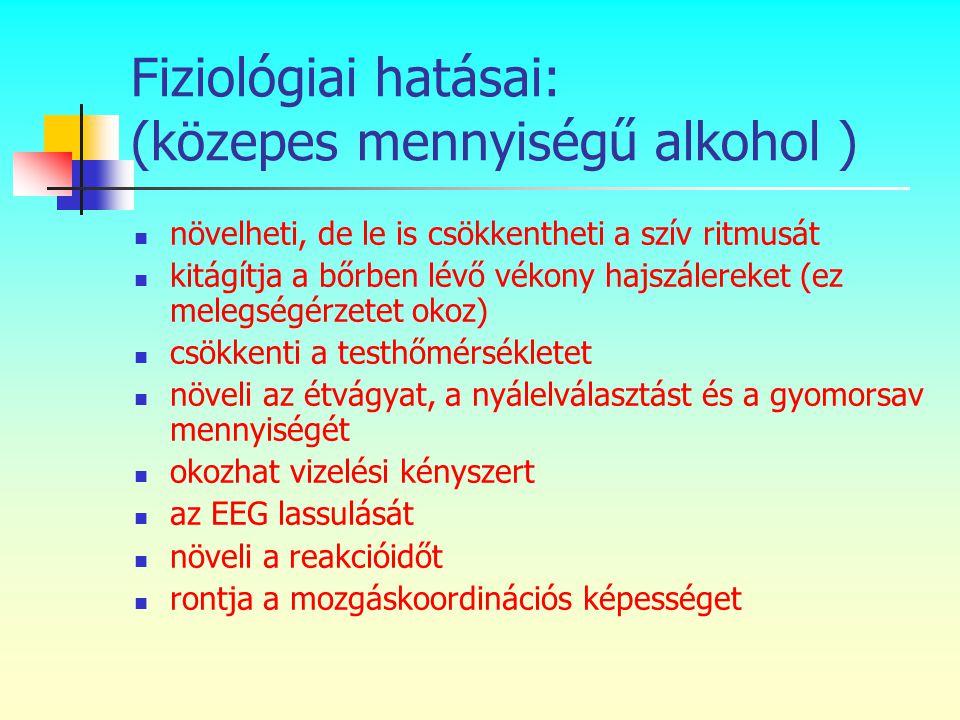 Fiziológiai hatásai: (közepes mennyiségű alkohol )