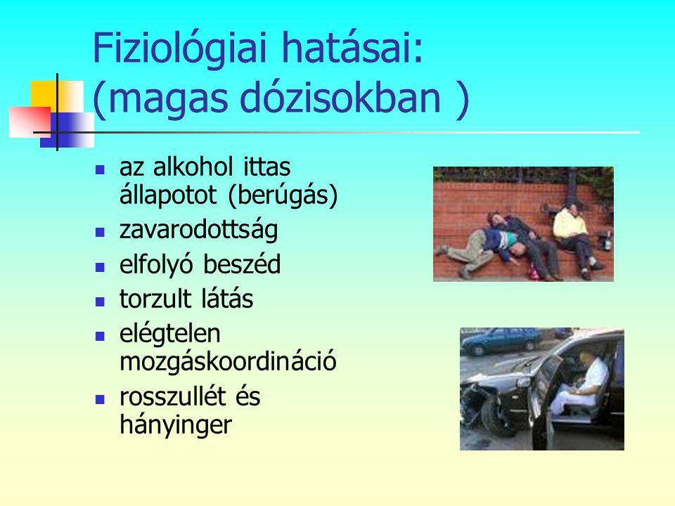 Fiziológiai hatásai: (magas dózisokban )