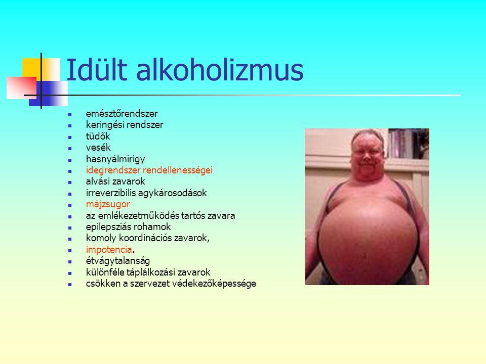 Idült alkoholizmus emésztőrendszer keringési rendszer tüdők vesék